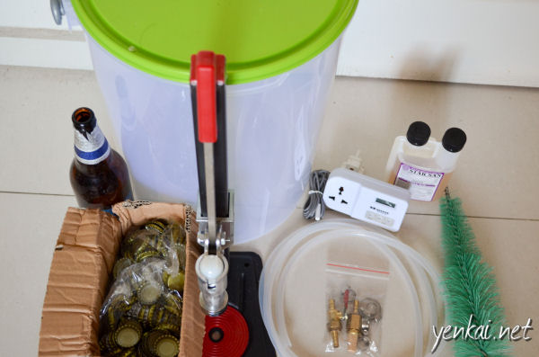 Fermentation bucket, Siphon with filter, bottle brush, tempertaure regulator, bottle capper, bottle caps, bottles (got these from a kopitiam), Toyogo bucket for soaking bottles and equipment in Star San sanitizer