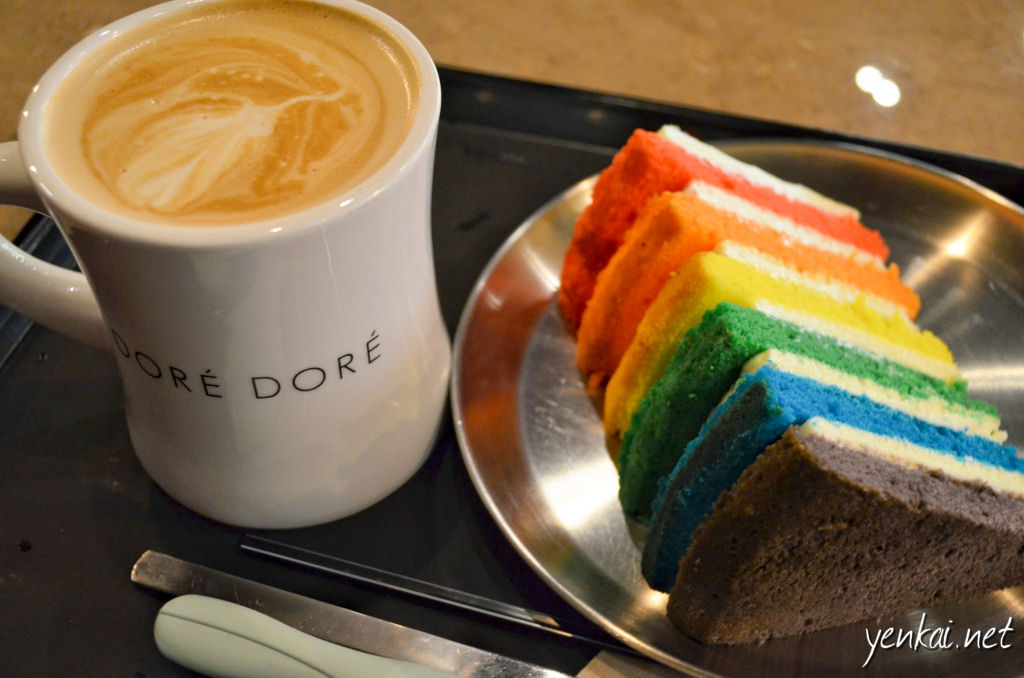 The cake is good - dense and moist. What's interesting is that the layers of cream is even better. It is not just whipping cream, it is some kind of cream cheese. No wonder everyone else ordered the other version of the rainbow cake which is fully covered with that cream. The latte is good too.