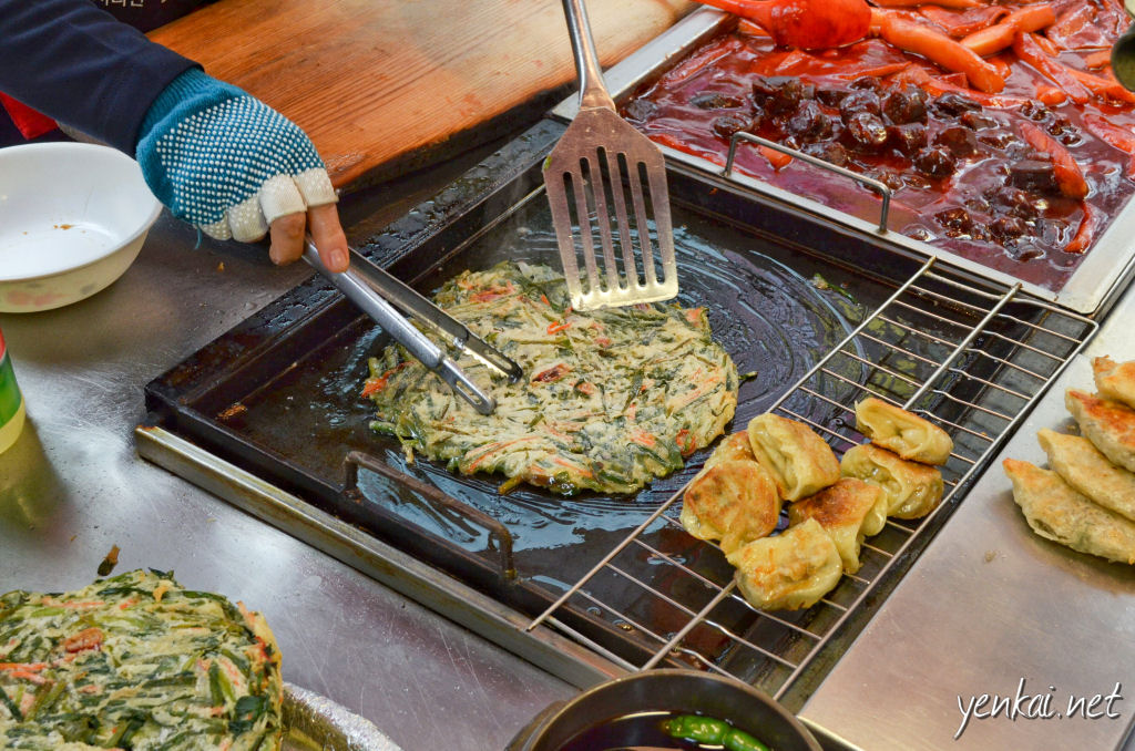 Chives pancakes, eaten Korean style - stand by the stall