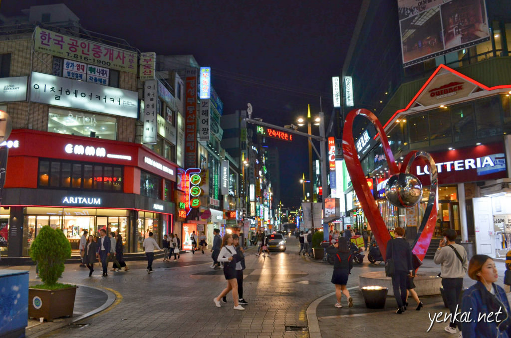 The night scene around Seomyeon looks more like Japan than Fukuoka does. It has the highest concentration of restaurants i have seen, ever. Koreans are true foodies.