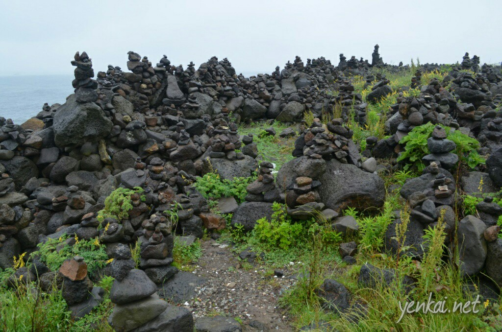 Stacked volcanic black rocks