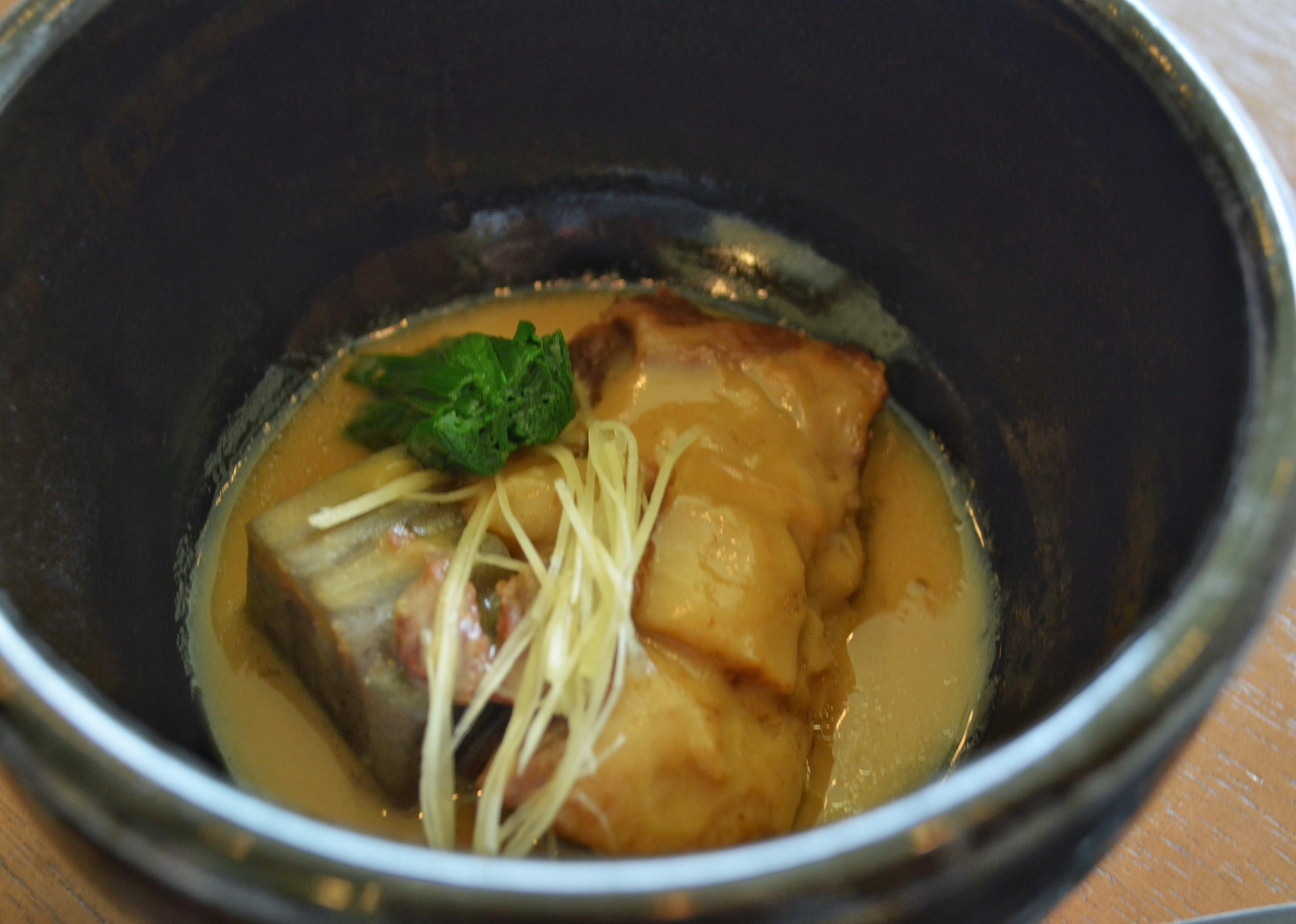 Kurobuta pork in thick gingery gravy