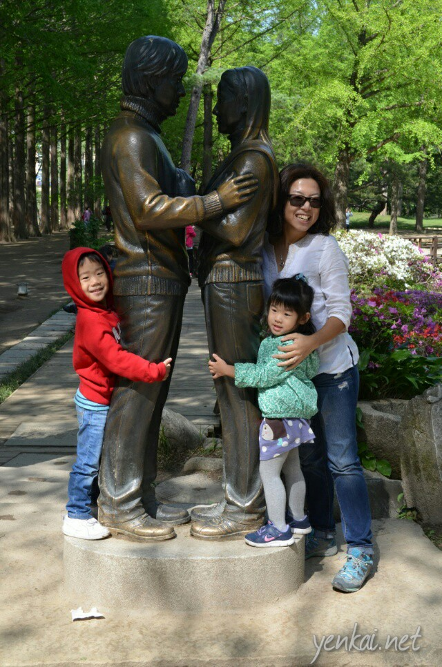 Winter Sonata statue and the Metasequioa Lane behind