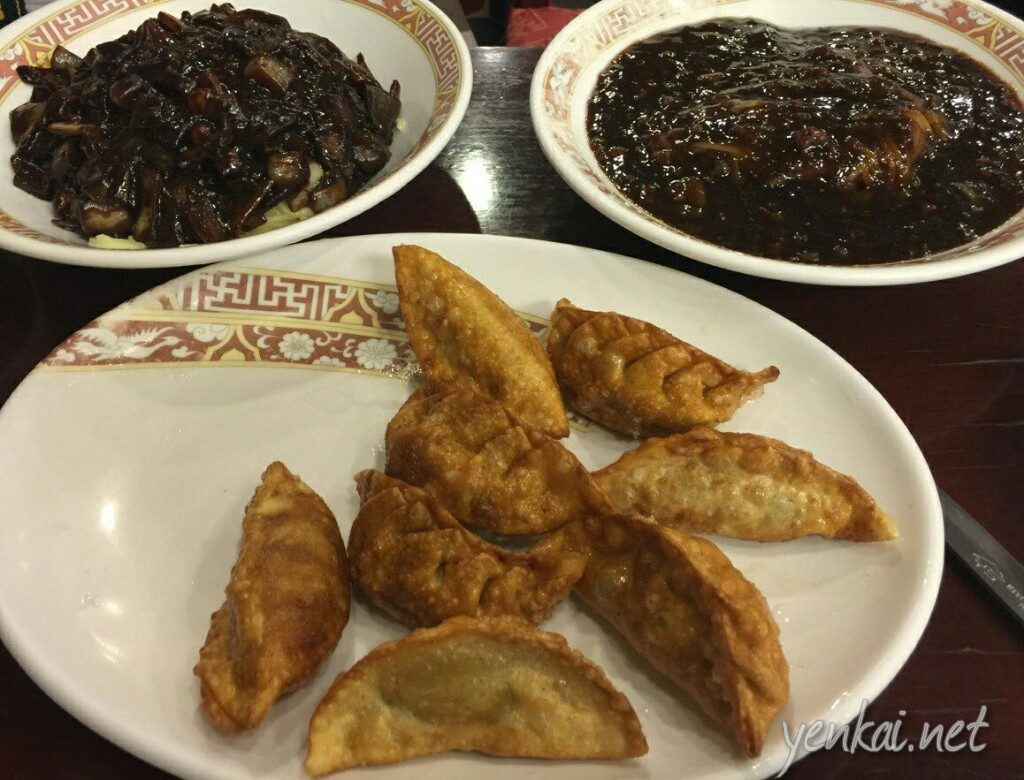 Jajangmyeon in regular and dry versions and dumplings