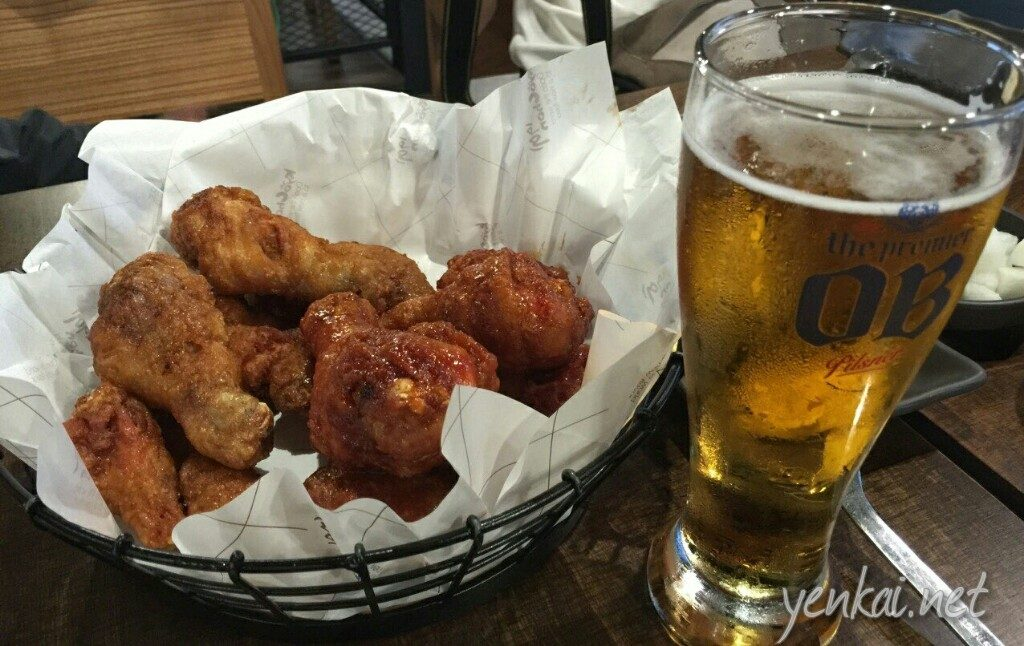 Kyochon fried chicken and draft beer