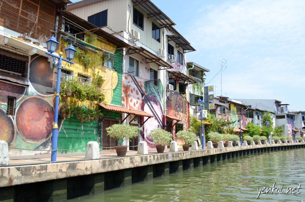 Multi-coloured murals, not as good as those in Penang