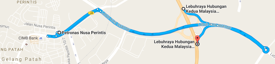 According to Google Maps, the detour to Gelang Patah Petronas station takes 16 minutes, return