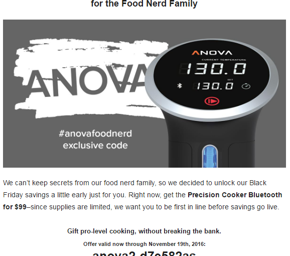 Anova precision cooker at US$99